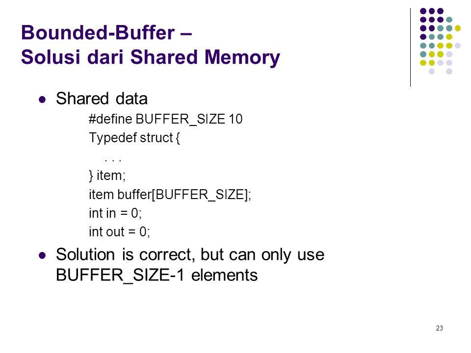 Bounded-Buffer – Solusi dari Shared Memory