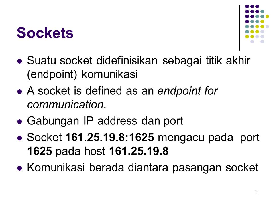 Sockets Suatu socket didefinisikan sebagai titik akhir (endpoint) komunikasi. A socket is defined as an endpoint for communication.