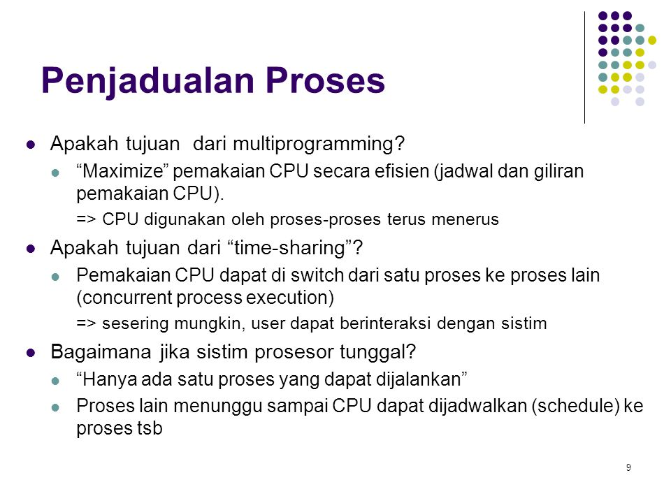Penjadualan Proses Apakah tujuan dari multiprogramming