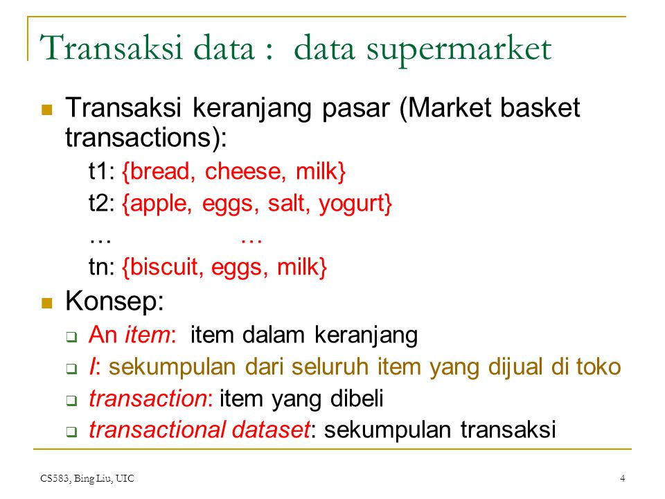 Transaksi data : data supermarket