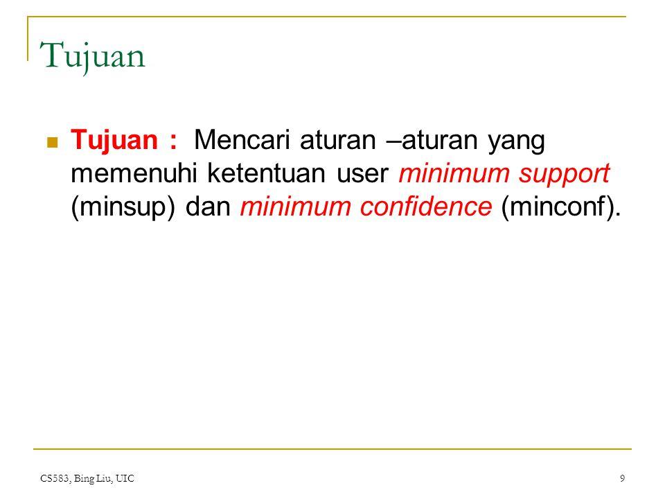 Tujuan Tujuan : Mencari aturan –aturan yang memenuhi ketentuan user minimum support (minsup) dan minimum confidence (minconf).