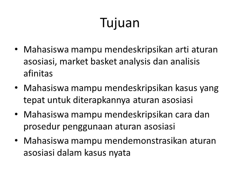 Tujuan Mahasiswa mampu mendeskripsikan arti aturan asosiasi, market basket analysis dan analisis afinitas.