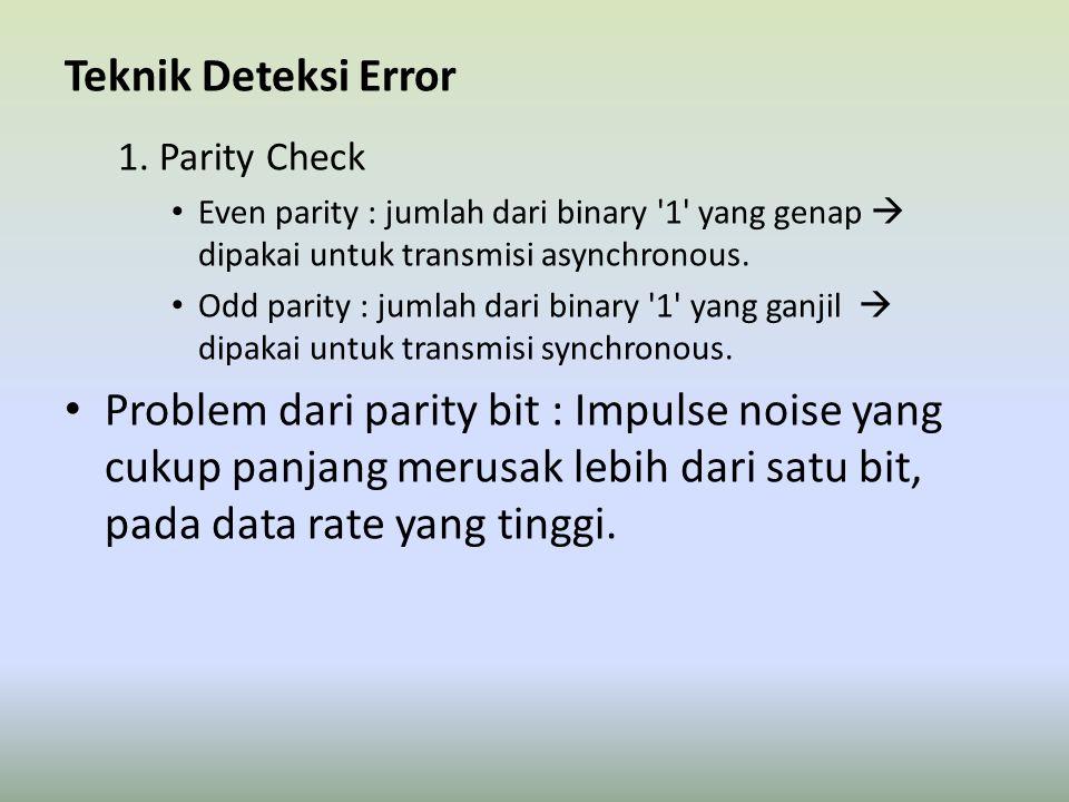 Teknik Deteksi Error 1. Parity Check. Even parity : jumlah dari binary 1 yang genap  dipakai untuk transmisi asynchronous.