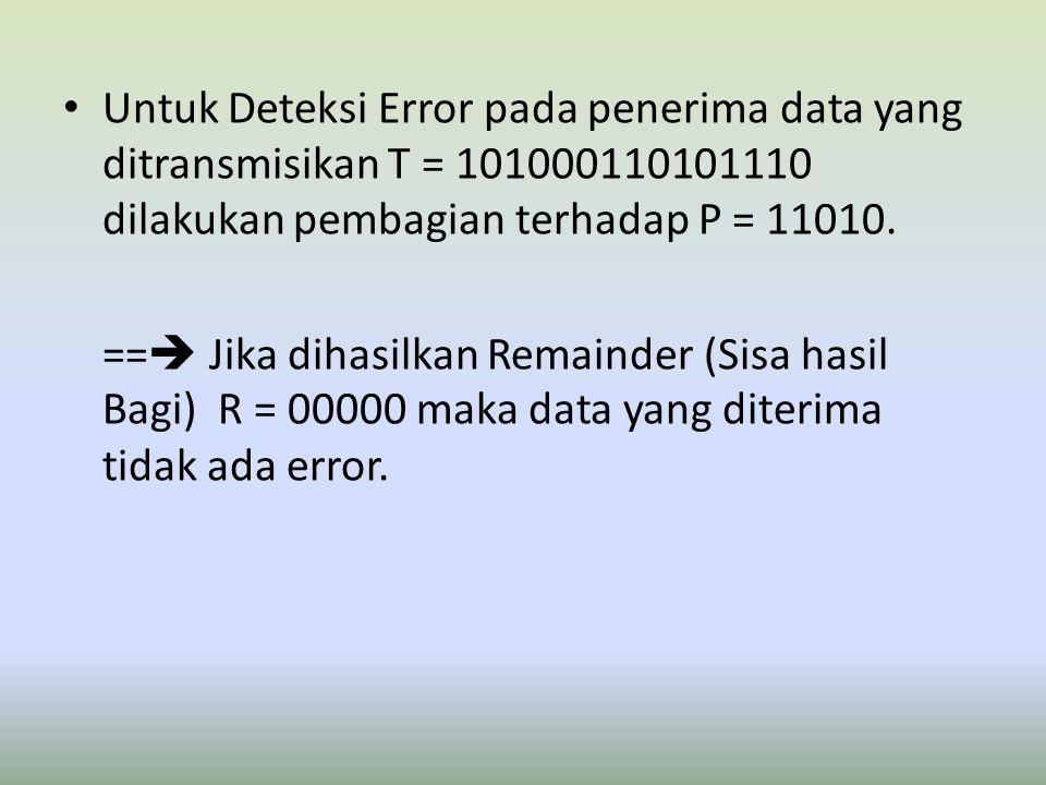 Untuk Deteksi Error pada penerima data yang ditransmisikan T = 101000110101110 dilakukan pembagian terhadap P = 11010.