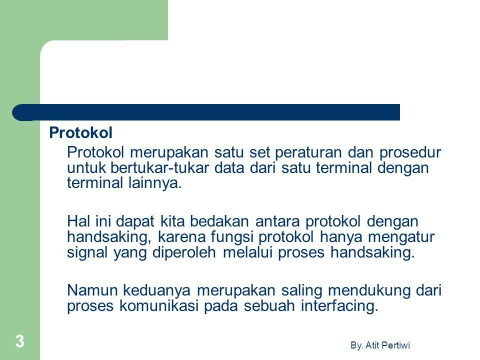 Protokol Protokol merupakan satu set peraturan dan prosedur untuk bertukar-tukar data dari satu terminal dengan terminal lainnya.