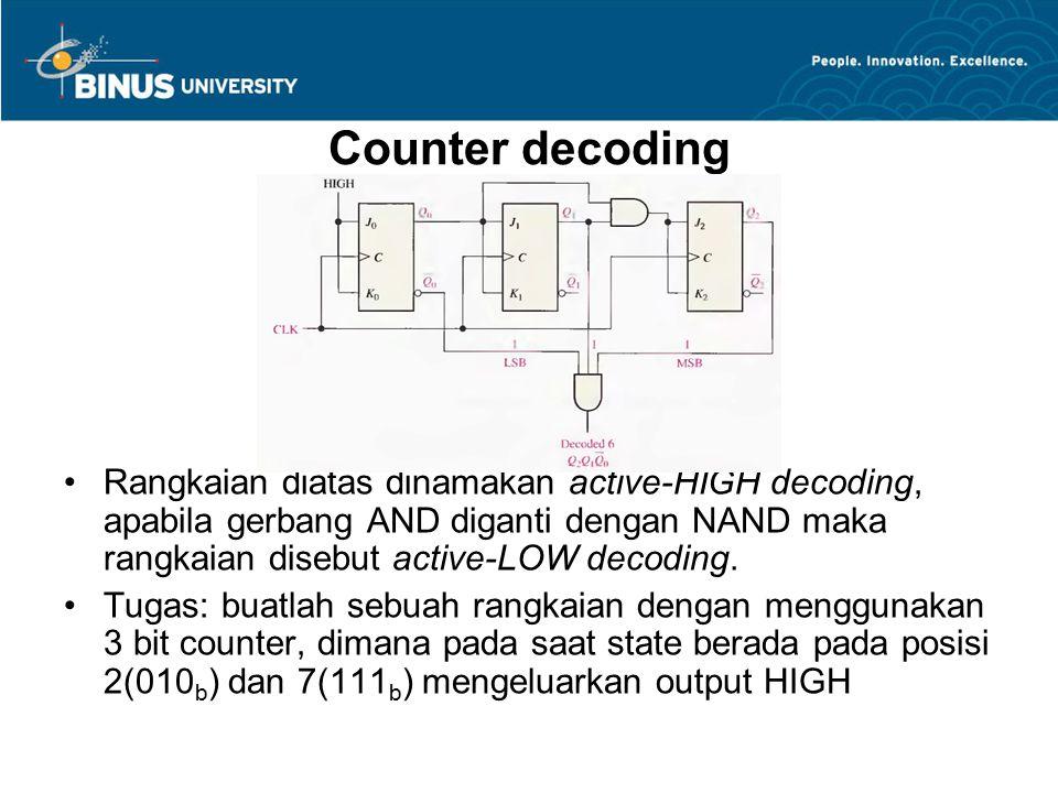 Counter decoding Rangkaian diatas dinamakan active-HIGH decoding, apabila gerbang AND diganti dengan NAND maka rangkaian disebut active-LOW decoding.
