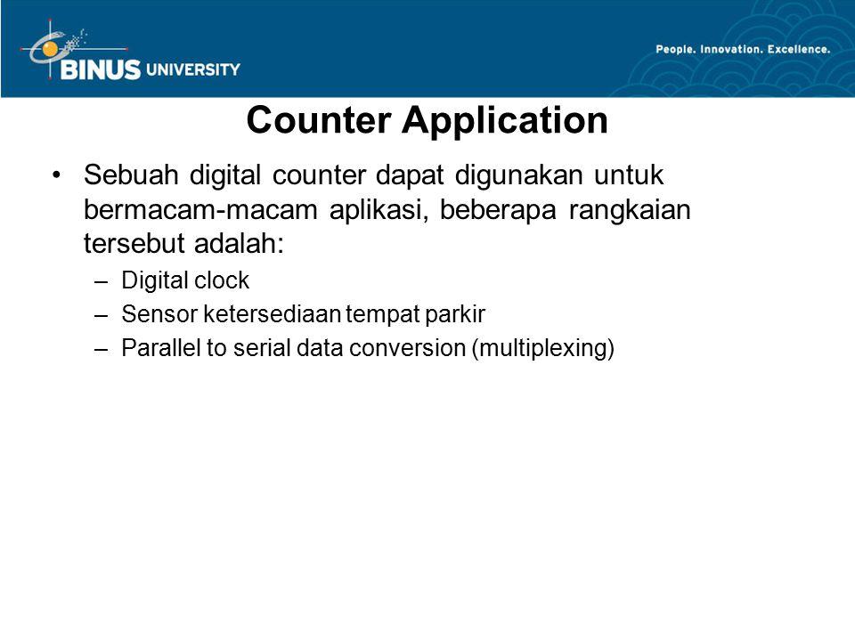 Counter Application Sebuah digital counter dapat digunakan untuk bermacam-macam aplikasi, beberapa rangkaian tersebut adalah: