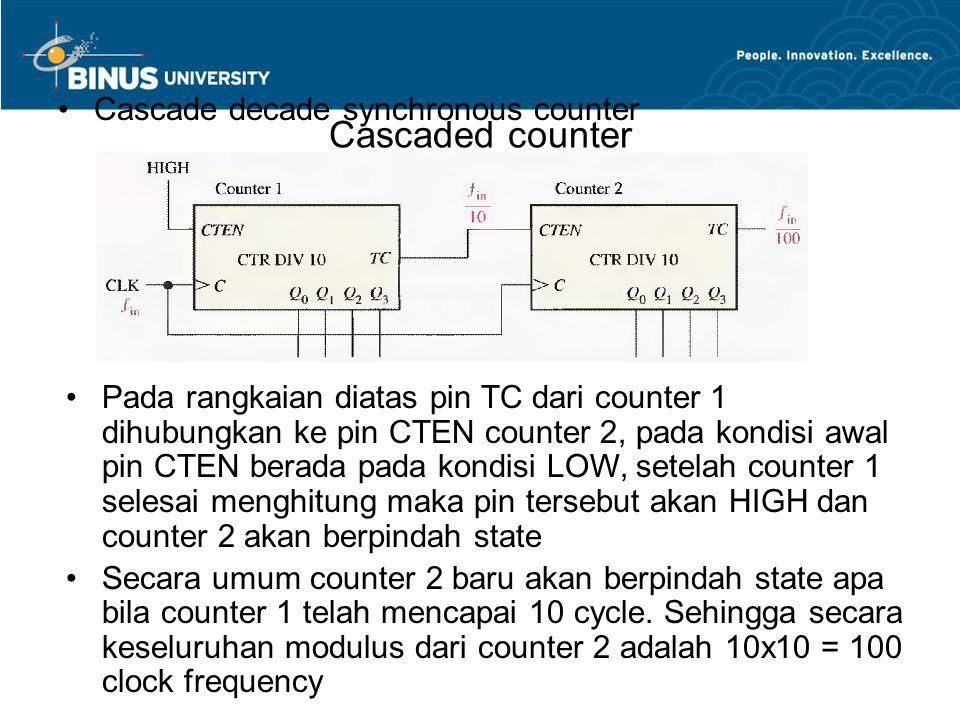 Cascaded counter Cascade decade synchronous counter