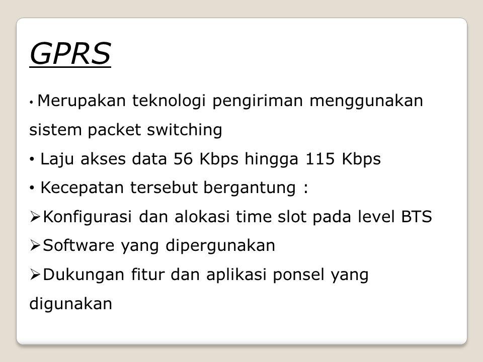 GPRS Laju akses data 56 Kbps hingga 115 Kbps