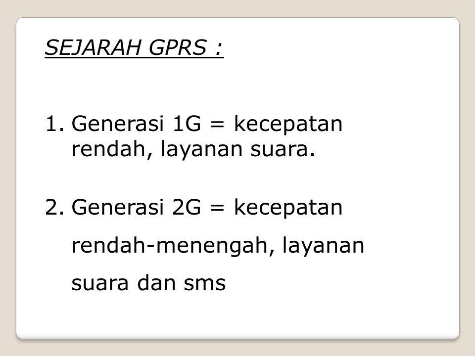 SEJARAH GPRS : Generasi 1G = kecepatan rendah, layanan suara.
