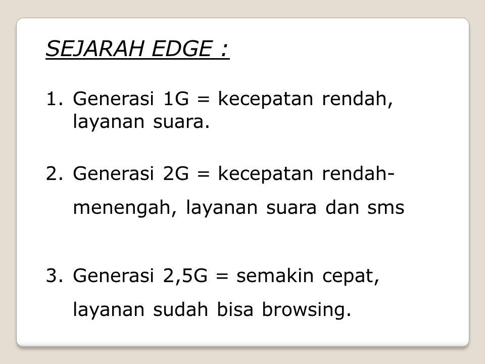 SEJARAH EDGE : Generasi 1G = kecepatan rendah, layanan suara.