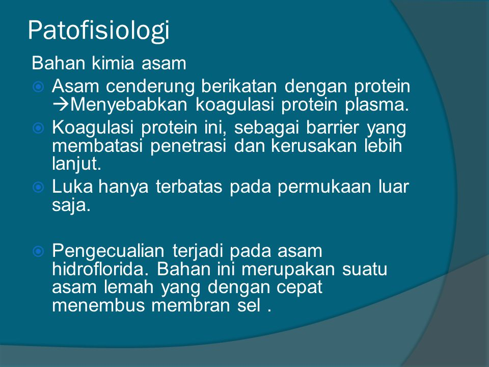 Patofisiologi Bahan kimia asam