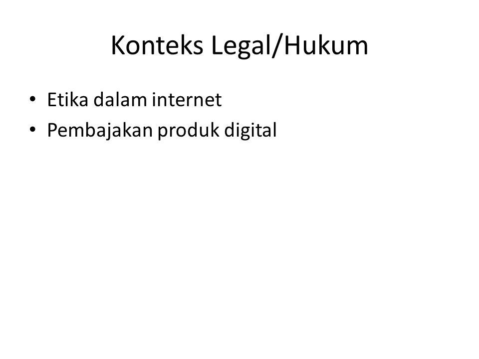 Konteks Legal/Hukum Etika dalam internet Pembajakan produk digital