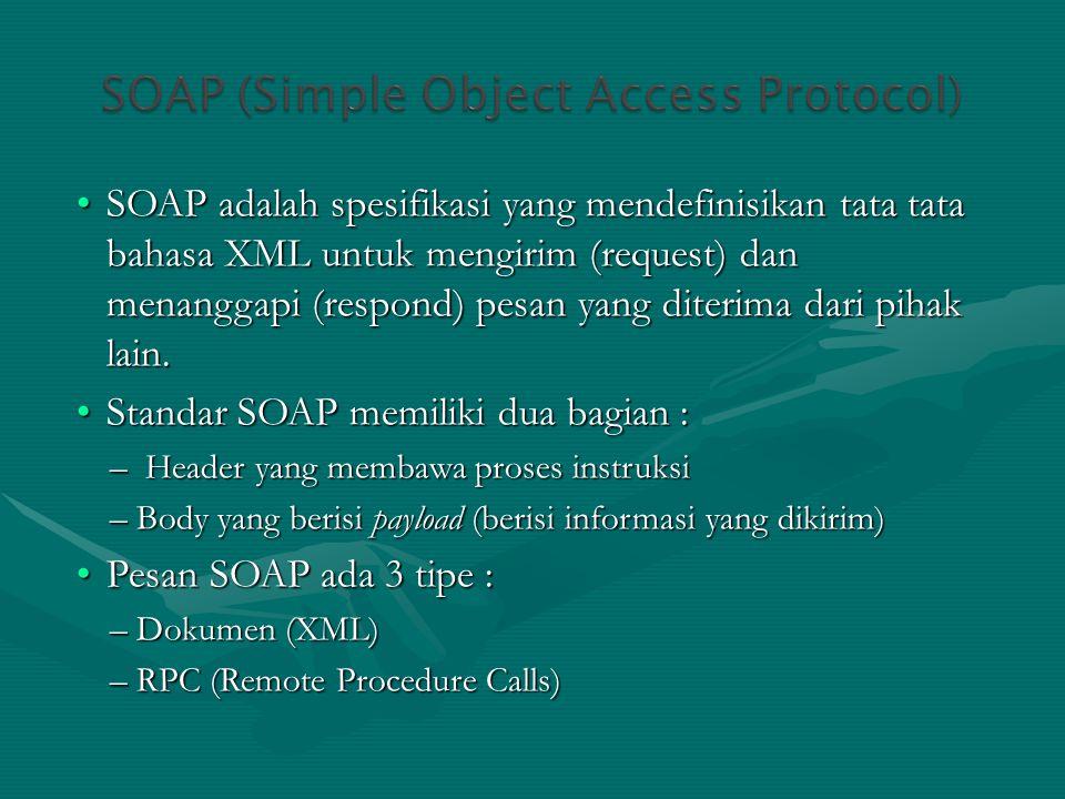 Standar SOAP memiliki dua bagian :