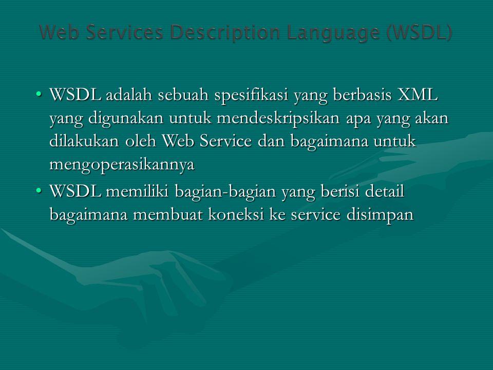 WSDL adalah sebuah spesifikasi yang berbasis XML yang digunakan untuk mendeskripsikan apa yang akan dilakukan oleh Web Service dan bagaimana untuk mengoperasikannya