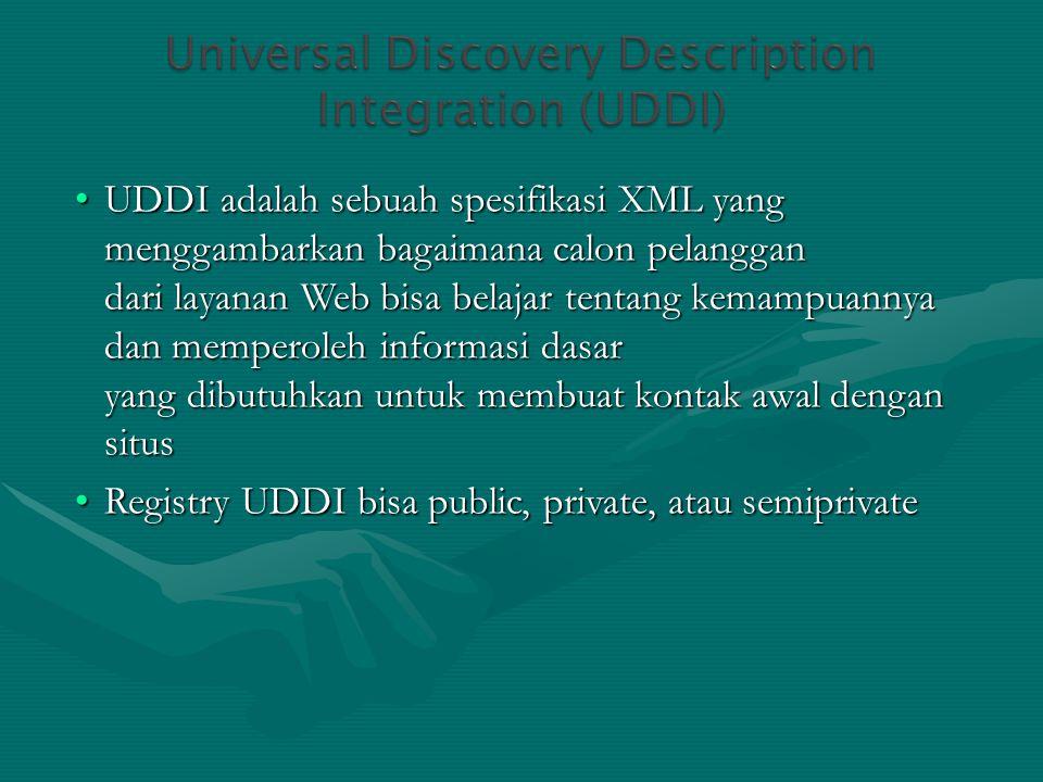 UDDI adalah sebuah spesifikasi XML yang menggambarkan bagaimana calon pelanggan dari layanan Web bisa belajar tentang kemampuannya dan memperoleh informasi dasar yang dibutuhkan untuk membuat kontak awal dengan situs