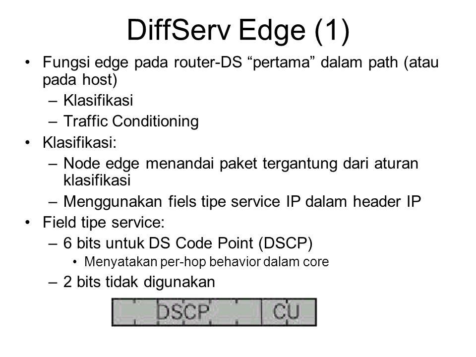 DiffServ Edge (1) Fungsi edge pada router-DS pertama dalam path (atau pada host) Klasifikasi. Traffic Conditioning.