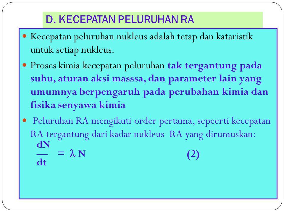 D. KECEPATAN PELURUHAN RA