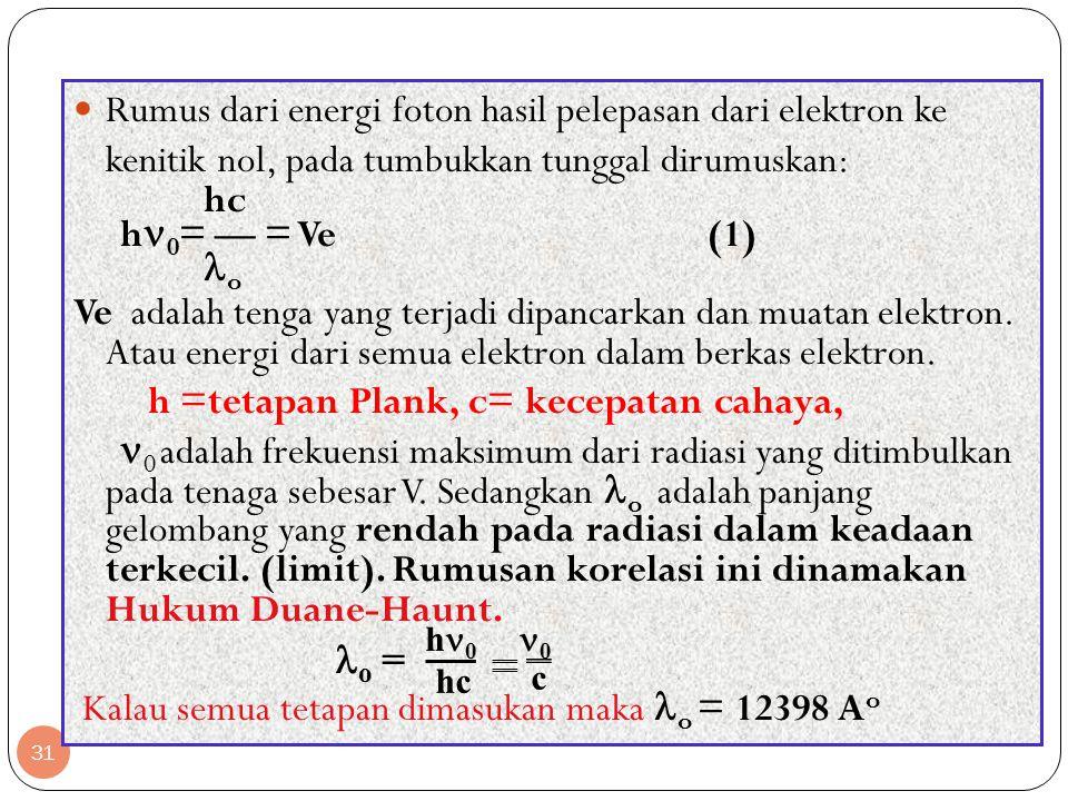 h =tetapan Plank, c= kecepatan cahaya,