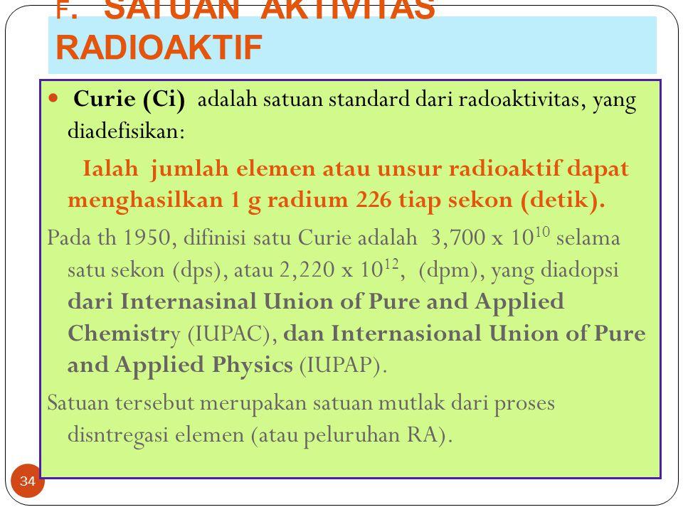 F. SATUAN AKTIVITAS RADIOAKTIF