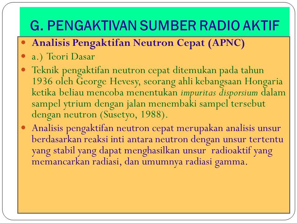 G. PENGAKTIVAN SUMBER RADIO AKTIF