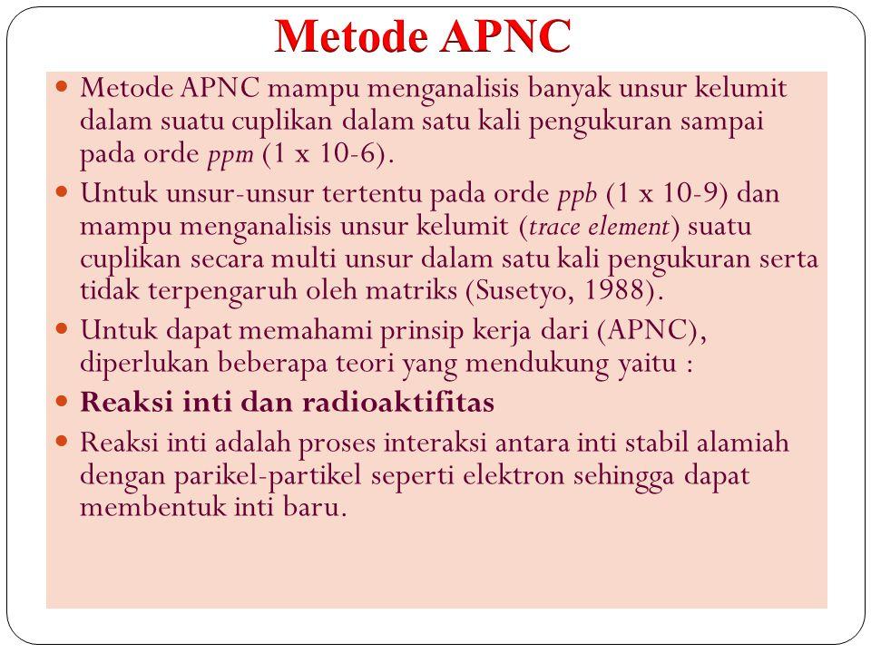 Metode APNC Metode APNC mampu menganalisis banyak unsur kelumit dalam suatu cuplikan dalam satu kali pengukuran sampai pada orde ppm (1 x 10-6).