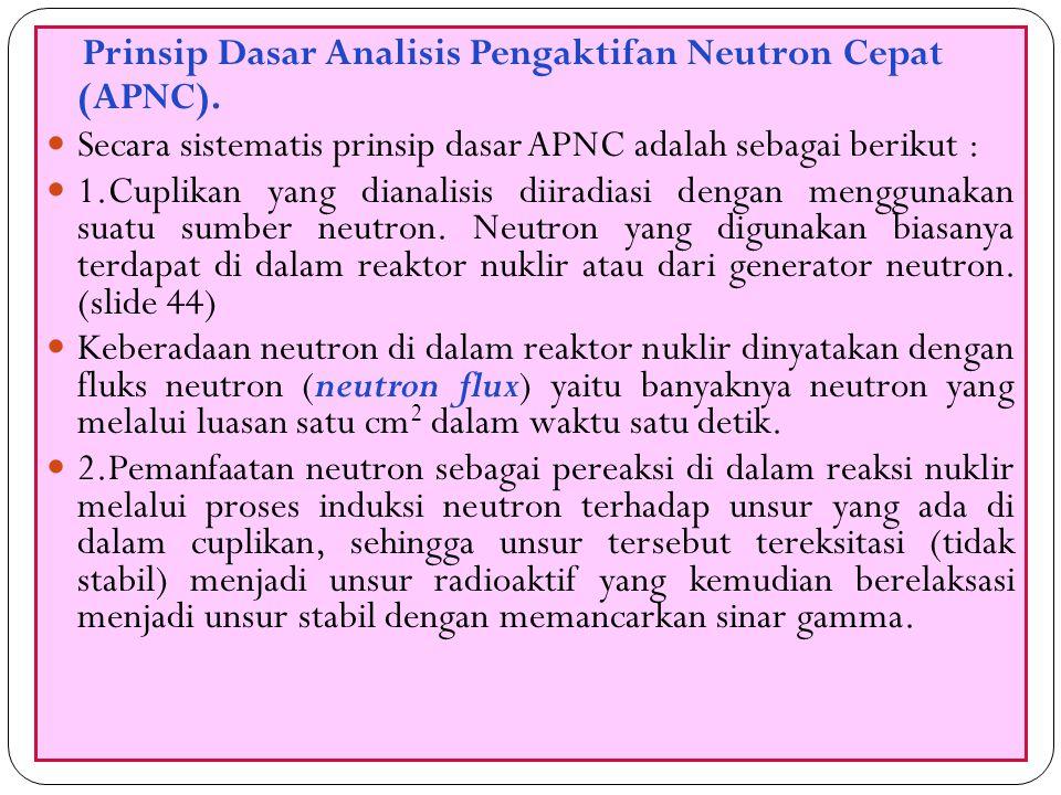 Prinsip Dasar Analisis Pengaktifan Neutron Cepat (APNC).