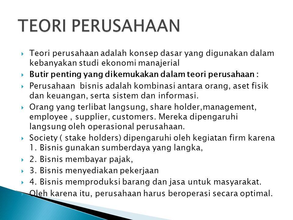 TEORI PERUSAHAAN Teori perusahaan adalah konsep dasar yang digunakan dalam kebanyakan studi ekonomi manajerial.