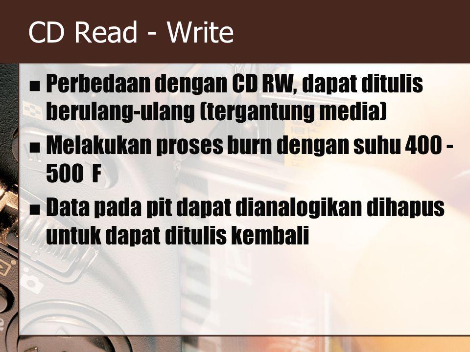 CD Read - Write Perbedaan dengan CD RW, dapat ditulis berulang-ulang (tergantung media) Melakukan proses burn dengan suhu 400 - 500 F.