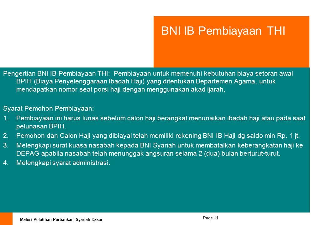 BNI IB Pembiayaan THI