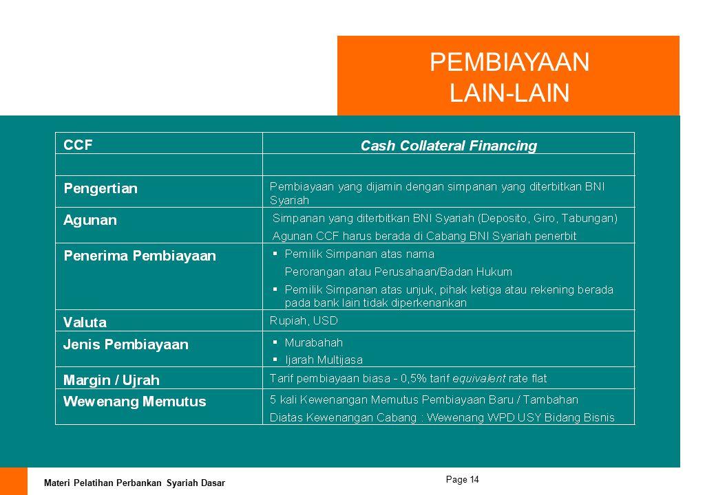 PEMBIAYAAN LAIN-LAIN