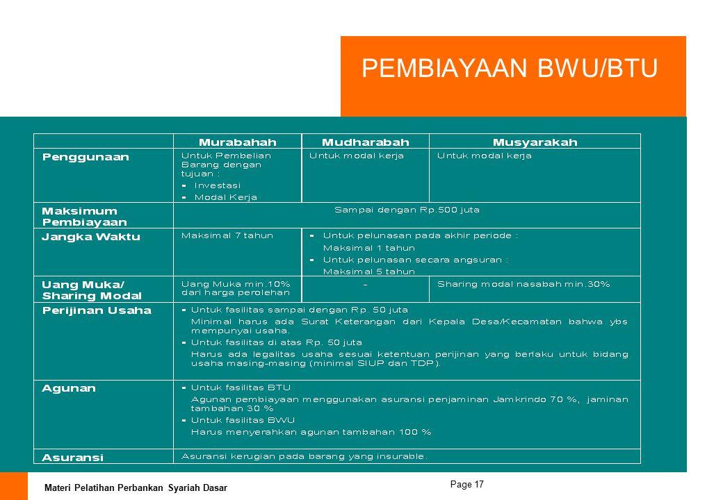 PEMBIAYAAN BWU/BTU
