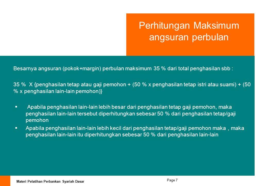 Perhitungan Maksimum angsuran perbulan