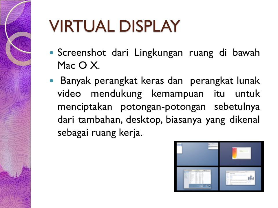 VIRTUAL DISPLAY Screenshot dari Lingkungan ruang di bawah Mac O X.