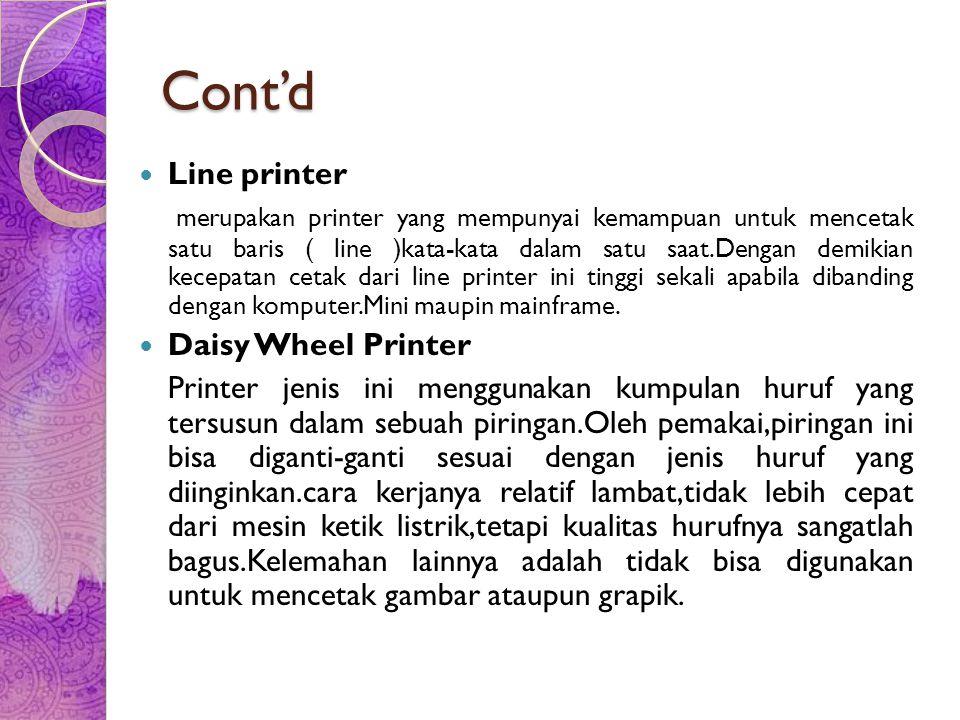 Cont'd Line printer.