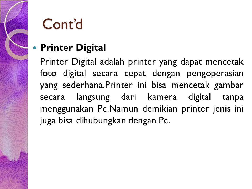 Cont'd Printer Digital