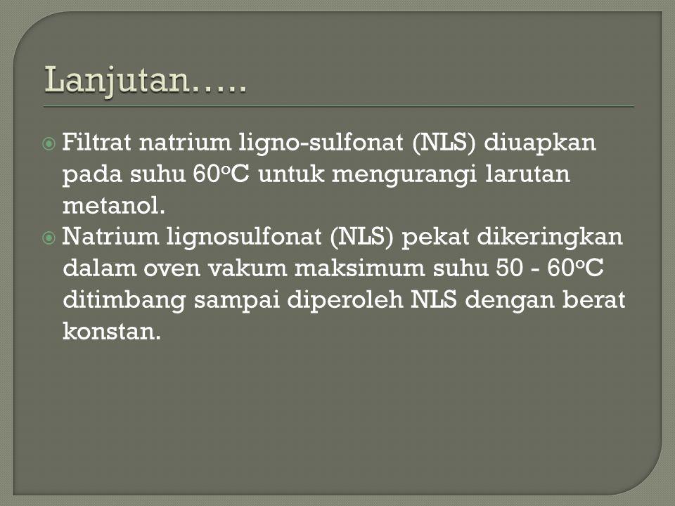 Lanjutan….. Filtrat natrium ligno-sulfonat (NLS) diuapkan pada suhu 60oC untuk mengurangi larutan metanol.