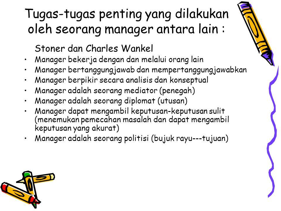 Tugas-tugas penting yang dilakukan oleh seorang manager antara lain :