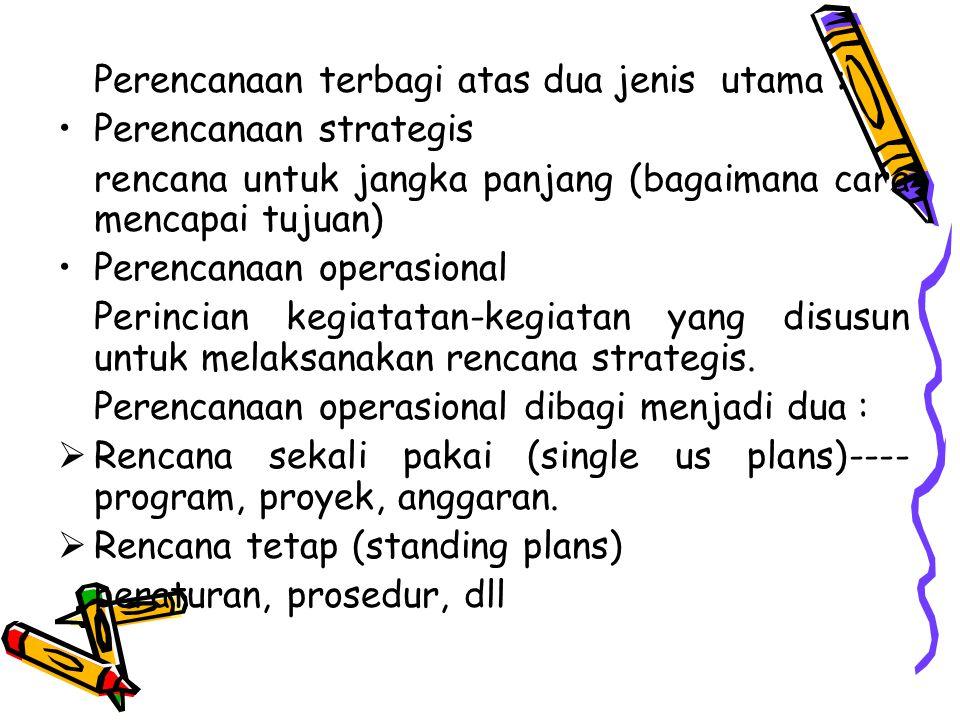 Perencanaan terbagi atas dua jenis utama :