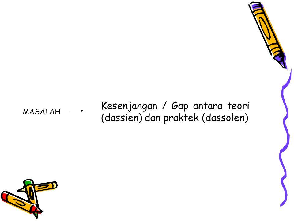 Kesenjangan / Gap antara teori (dassien) dan praktek (dassolen)