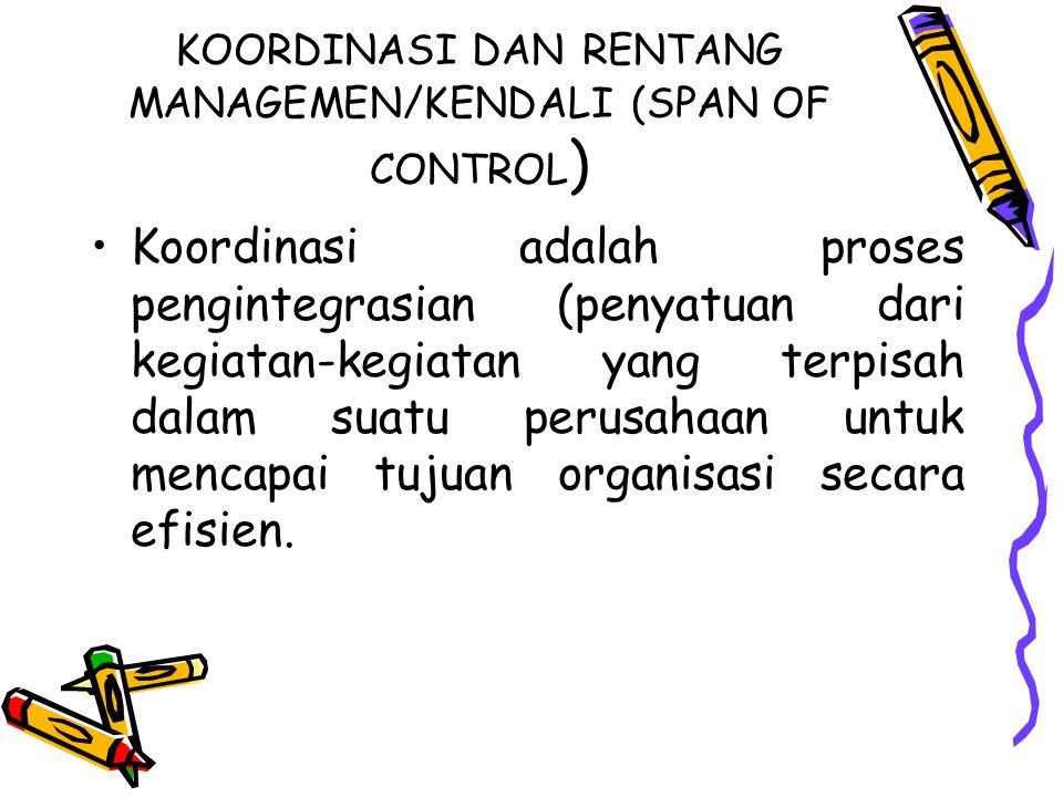 KOORDINASI DAN RENTANG MANAGEMEN/KENDALI (SPAN OF CONTROL)