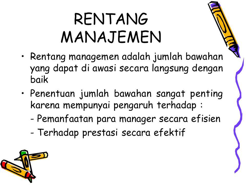 RENTANG MANAJEMEN Rentang managemen adalah jumlah bawahan yang dapat di awasi secara langsung dengan baik.