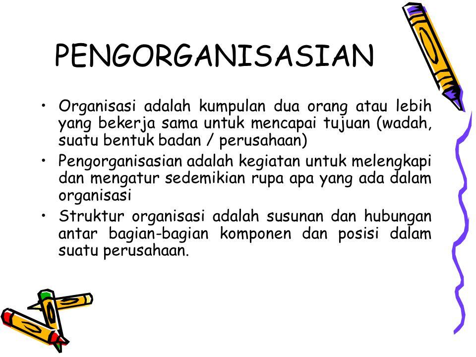 PENGORGANISASIAN Organisasi adalah kumpulan dua orang atau lebih yang bekerja sama untuk mencapai tujuan (wadah, suatu bentuk badan / perusahaan)