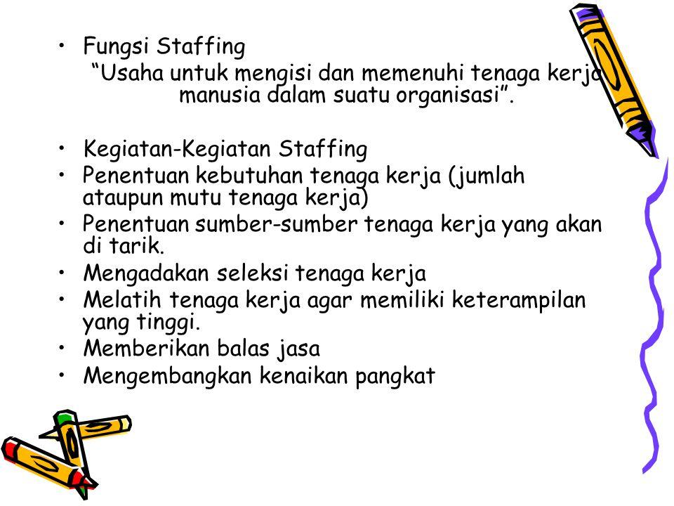 Fungsi Staffing Usaha untuk mengisi dan memenuhi tenaga kerja manusia dalam suatu organisasi . Kegiatan-Kegiatan Staffing.