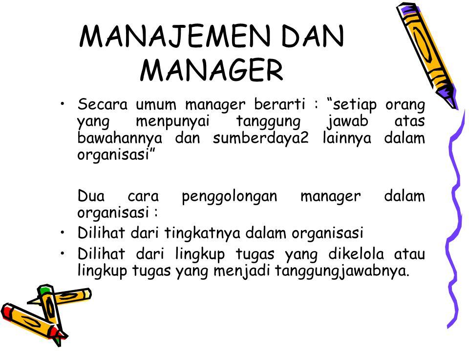 MANAJEMEN DAN MANAGER