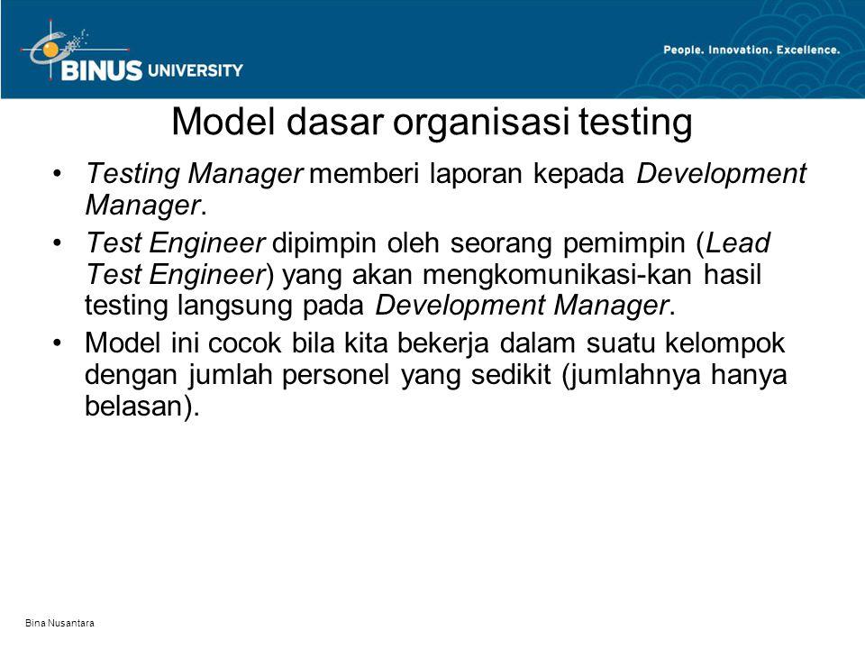 Model dasar organisasi testing