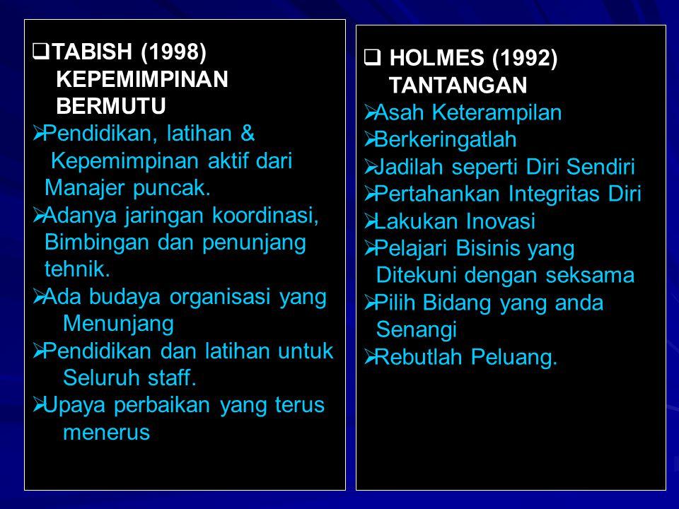 TABISH (1998) KEPEMIMPINAN. BERMUTU. Pendidikan, latihan & Kepemimpinan aktif dari. Manajer puncak.