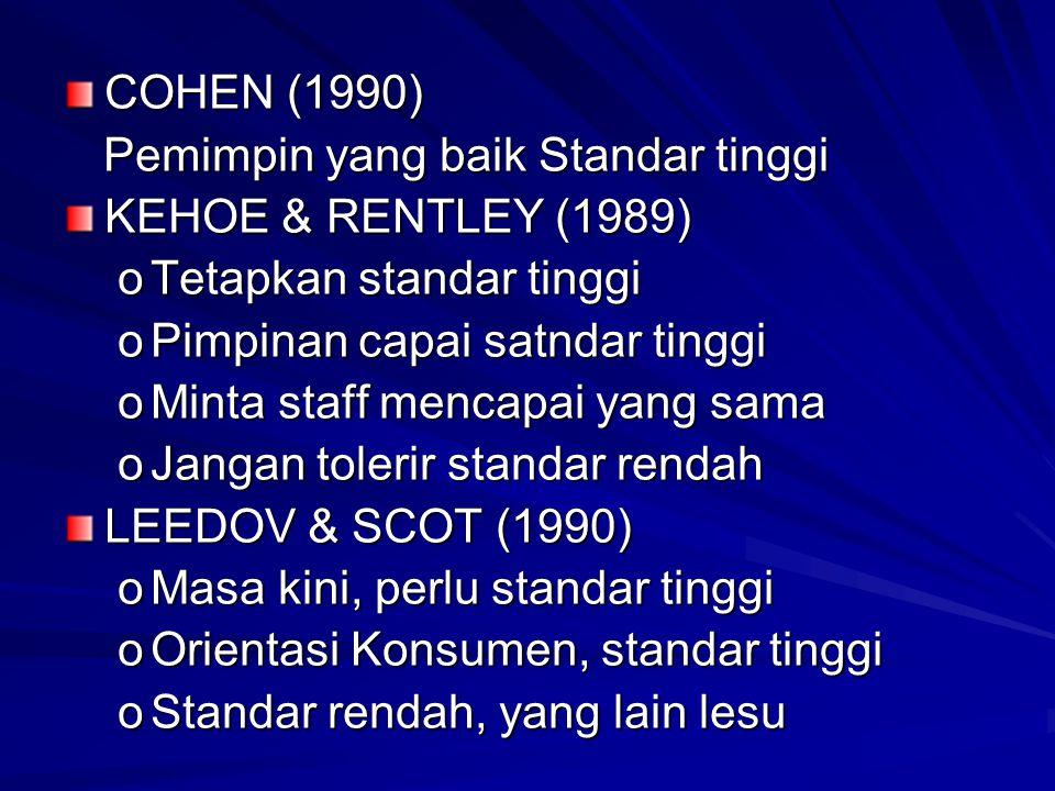 COHEN (1990) Pemimpin yang baik Standar tinggi. KEHOE & RENTLEY (1989) Tetapkan standar tinggi. Pimpinan capai satndar tinggi.