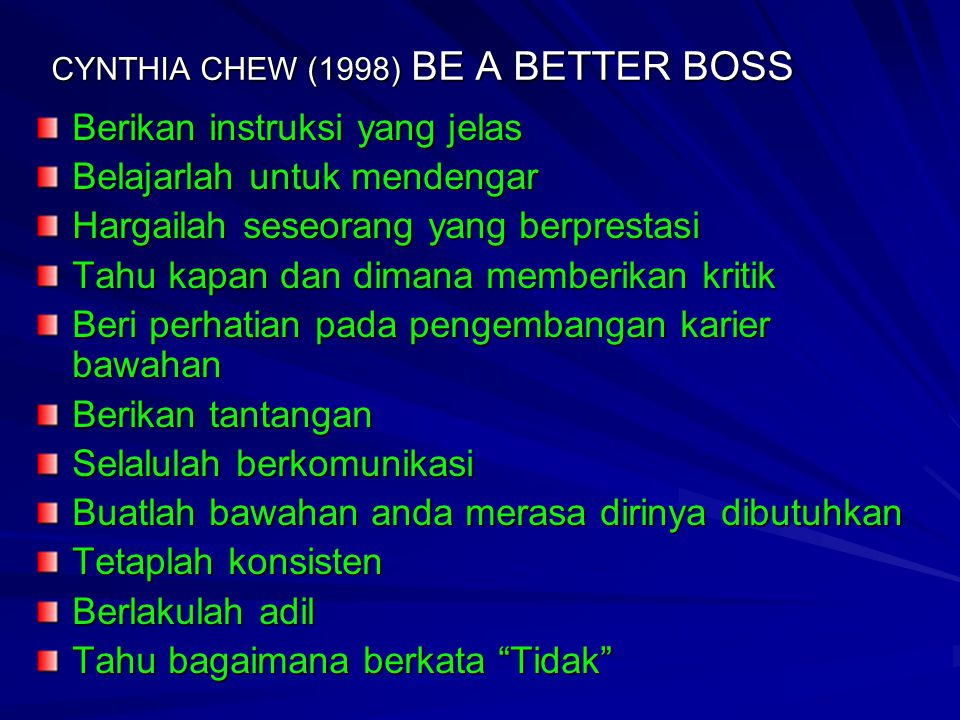 CYNTHIA CHEW (1998) BE A BETTER BOSS