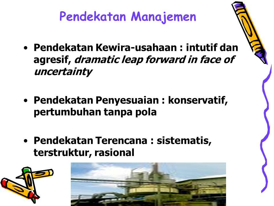 Pendekatan Manajemen Pendekatan Kewira-usahaan : intutif dan agresif, dramatic leap forward in face of uncertainty.